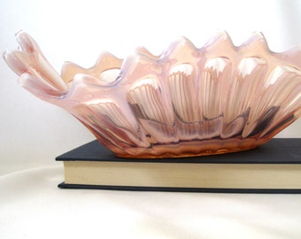 Vintage Ruffled Fostoria Glass Heirloom Pink Opalescent Console Bowl, Cottage Shabby Chic, Mid Century Mod Home Decor