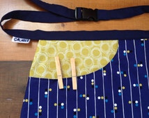 Bag to store pins utility apron linen, gift, woman or unisex. Tote bag, bag size.
