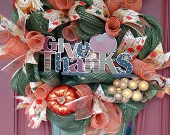 Thanksgiving wreath. Fall wreath. Fall decorations. Fall decor. Thanksgiving decor. Scarecrow wreath. Give thanks.