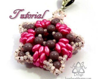 PDF Tutorial Double Duo Star Pendant with SuperDuo and RounDuo beads. Pattern, Instructions
