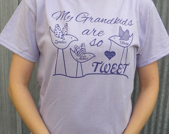 My Grand Kids Are So Tweet Personalized T-shirt For Grandma