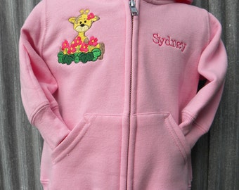 Floral Giraffe Embroidery On Full-Zip Hooded Sweatshirt - Choose Size & Personalize It If Desired