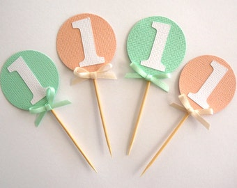 Set of 12 mint green and peach cupcake toppers- personalised- custom- first birthday- baby shower- age- 1st birthday