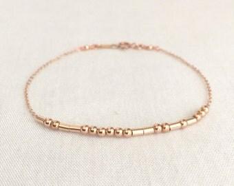 Rose Gold Morse Code Bracelet, Sister Bracelet, Bridesmaid Bracelet, Mother Daughter Bracelet, Mother Gift, Secret Message, Hidden Message