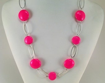 Pink necklace | Birthday Gift | Fashion jewerly | Everyday necklace | Pink Czech Glass Necklace | Long necklace  | Hand made necklace