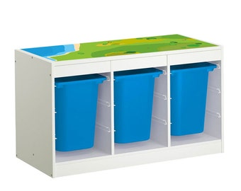 """Kids room: Furniture sticker """"Playground"""" for IKEA TROFAST Frame (1M-ST02-04)- Furniture not included"""