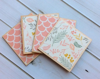 Botanical Coaster, Botanical Decor, Pink Home Decor, Pink Coasters, Wood Coaster, Pink Decor, Gift for Her, Housewarming Gift, Garden Decor