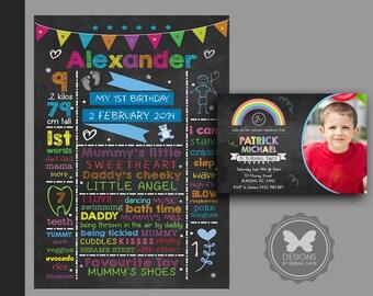 Printable Chalkboard Birthday Invitation,Printable Chalkboard Birthday Poster,Matching Chalkboard Invitation Poster,1st 2nd 3rd 4th Birthday