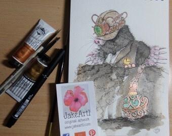 Steampunk mole, Steampunk, Mole, British wildlife, OOAK, original art, steampunk art