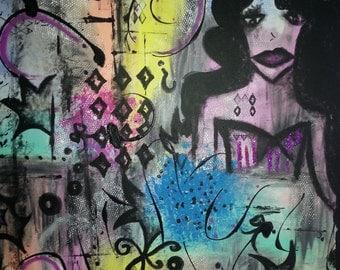 """Acrylic pastel color painting ,""""confusión total"""""""