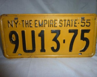 Vintage 1955 New York License Plate