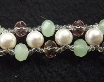 Crystal and Bead Ladder Design Bracelet