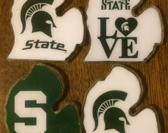 Set of 4 Michigan State Spartans MSU Beer Drink Coaster Handmade Gift Bar Bride Groom  Home