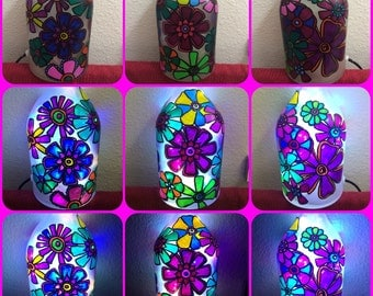 Custom hand painted bottles with lights