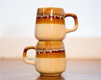 Brown Stoneware Drip Glaze Ceramic Coffee Mugs - Set of 2