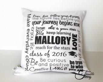 Personalized graduation pillow, college graduate gift, university graduate gift, high school graduate gift, graduation gift