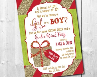 Holiday Gender Reveal Invitation with gold glitter detail/ DIGITAL FILE / printable / wording can be changed/gold, glitter, Christmas, party