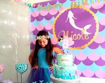Mermaid Birthday Backdrop | Personalized Mermaid Backdrop | mermaid | Personalized
