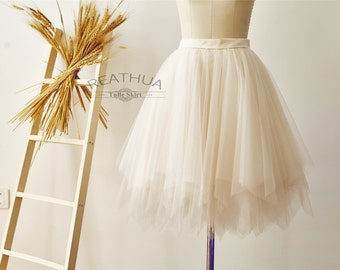 Champagne Ruffle UnevenTulle Skirt/Short Women Tulle Skirt/TUTU Tulle Skirt/Wedding Bridal Bridesmaid Skirt/Knee Length Skirt