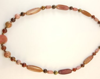 Gemstone Bead Necklace with Crazy Lace Agate & Jasper ~ Great Quality! J20