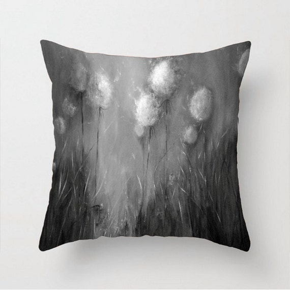 White Decorative Pillows For Bed : Decorative pillow Black white pillow Black by dandelionsnpoppies