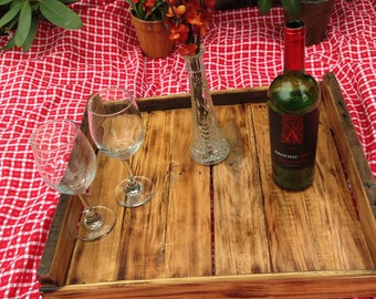 Handcrafted wood tray from reclaimed wood #3