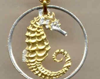 "Beautifully Cut out & 2-toned  Singapore ""Seahorse"",  Coin Necklaces"
