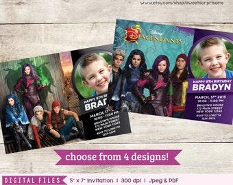 Descendants Invitation. Disney Descendants Invite. Descendants Birthday Invitation. Choose from 4 designs. Photo Invitation. First Birthday