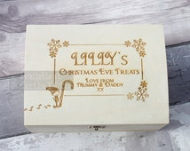 Personalised engraved Christmas Eve Wooden Chest / box - Filled or unfilled