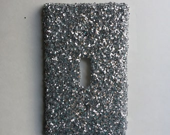 Silver Glitter Standard Light Switch Plate or outlet cover, Silver Decor, Glitter Decor, Silver Light Switch Cover