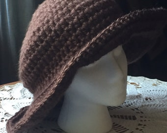 Brown Crocheted Cloche