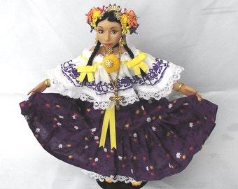 Custom Panama Doll - OOAK - Polymer Clay - OOAK Doll - Custom Panama Pride Doll - Polymer Clay Doll - Pollera Doll - Polymer Pollera Doll