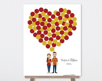 Wedding Guest Book Alternative Poster DIY  / College Football Fans / Red and Gold Balloon Heart / Custom Illustration ▷ Printable PDF
