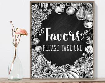 Wedding Sign, Favors Sign DIY, Please Take One Sign / Rustic Fall Chalkboard, Autumn Harvest, Rustic Pumpkin ▷Instant Download JPEG