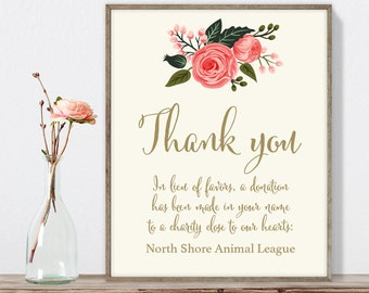 Wedding Thank You Sign / In Lieu of Favors, Charity Donation / Watercolor Rose Flower / Calligraphy ▷ Printable File {or} Printed & Shipped