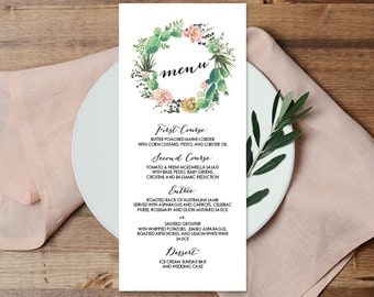 Floral Wedding Menu Card / Coral Pink Flowers and Cactus Succulent / Mexican Fiesta ▷ Printable File {or} Printed & Shipped