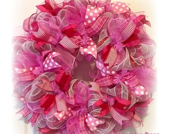 """27"""" Spring ~ Easter ~ Mother's Day ~Pink~ DECO MESH Ribbon Wreath~~Ready to Ship~~"""