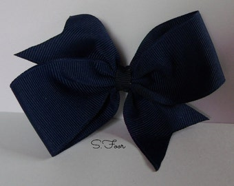 Navy Blue Basic Boutique Bow