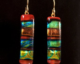 Dichroic Glass Rectangle Earrings on French Wire Multi-Colored Red, Green, Gold, Blue