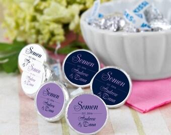 216 Last Name Hershey Kiss® Stickers - Hershey Kiss Stickers Wedding - Personalized Hershey Kiss Labels - Wedding Favors - Wedding Decor