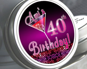 Personalized Birthday Party Favors - Martini Mint Tins - Personalized Mint Tins - Birthday Mint Tins -Sex in the City Themed Candy Favors