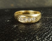 Antique Victorian Old Mine Cut Diamond Gypsy Band Ring in 18ct Gold c1880