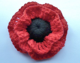 Crochet poppy brooch, Remembrance poppy, 9cm flower corsage shawl pin RED and BLACK