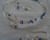 "Lapis blue beaded handmade silver ""memory"" coil bangle, armband with swirl earrings"