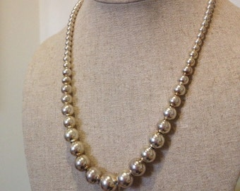 Vintage Sterling Silver Graduated Beaded Necklace