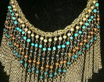 Boho chain fringe bib necklace