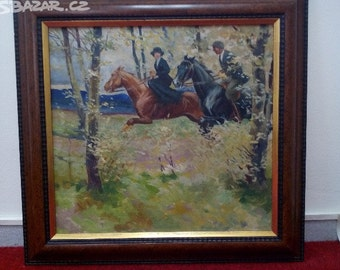 Riders in the forest, around 1920