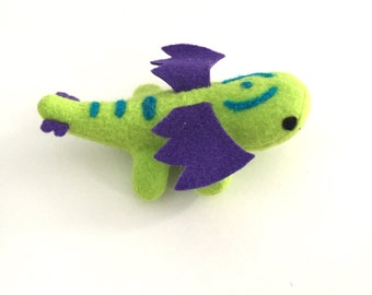 Small Baby Dragon green and purple soft stuffed plush kids toy animal handmade-Made to order