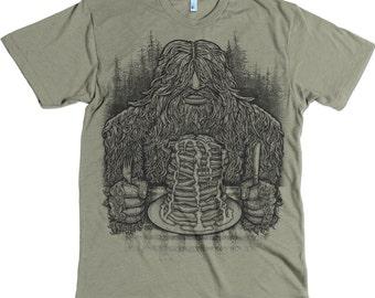 Sasquatch - mens tee - funny Tee - unisex t shirt - pancakes - flap Jacks - bigfoot - yeti - green - army green - forest - trees