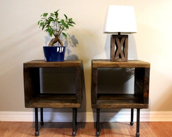 Pair of end tables, side table, nightstand, plant stand, entry table, reclaimed wood table, industrial table, urban end table
